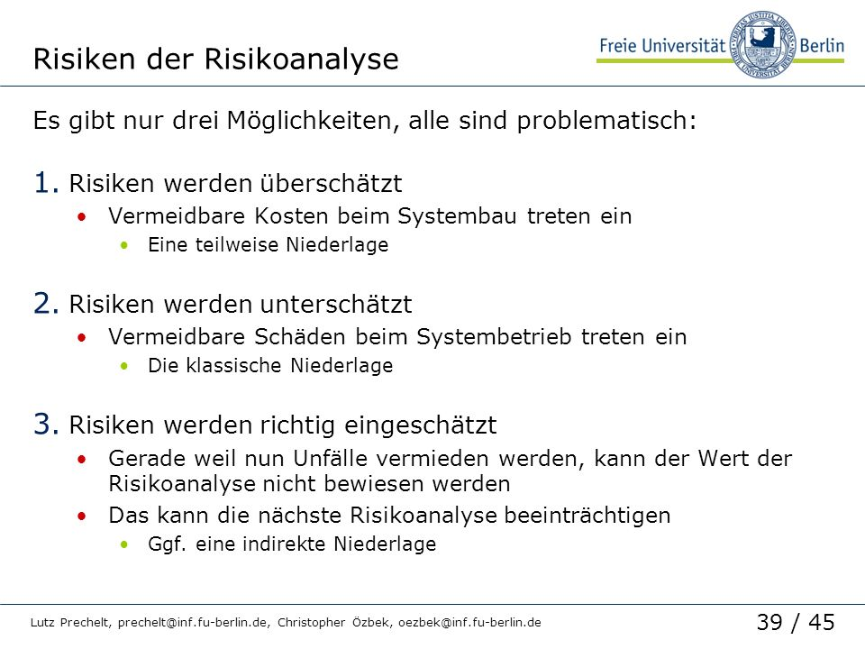 Risiken der Risikoanalyse