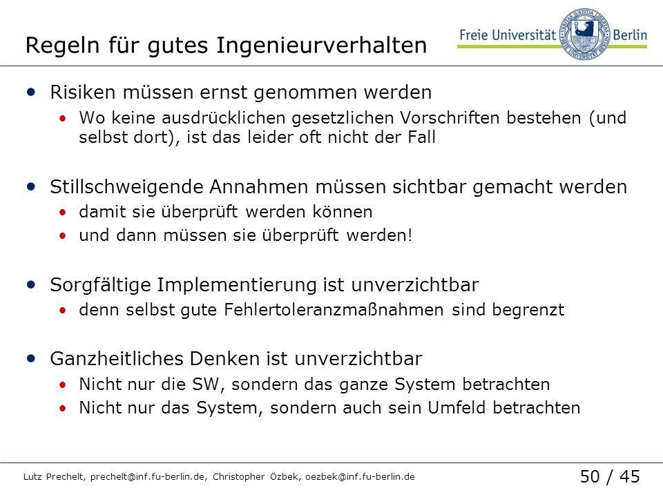 Regeln für gutes Ingenieurverhalten
