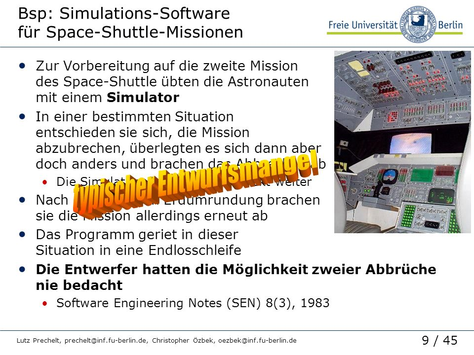 Bsp: Simulations-Software für Space-Shuttle-Missionen