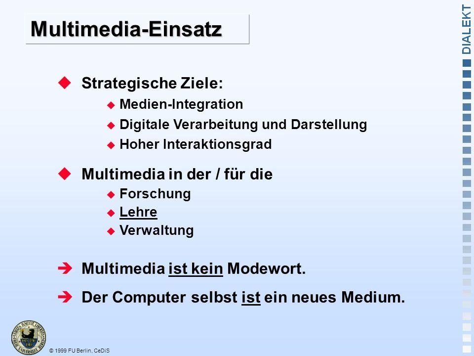 Multimedia-Einsatz Strategische Ziele: Multimedia in der / für die