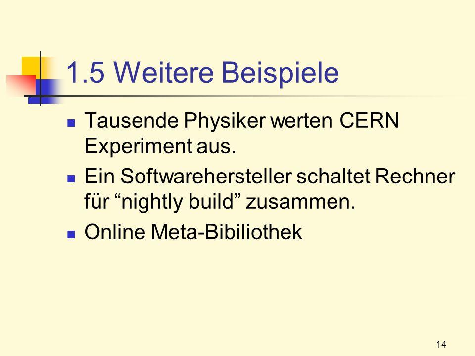1.5 Weitere Beispiele Tausende Physiker werten CERN Experiment aus.
