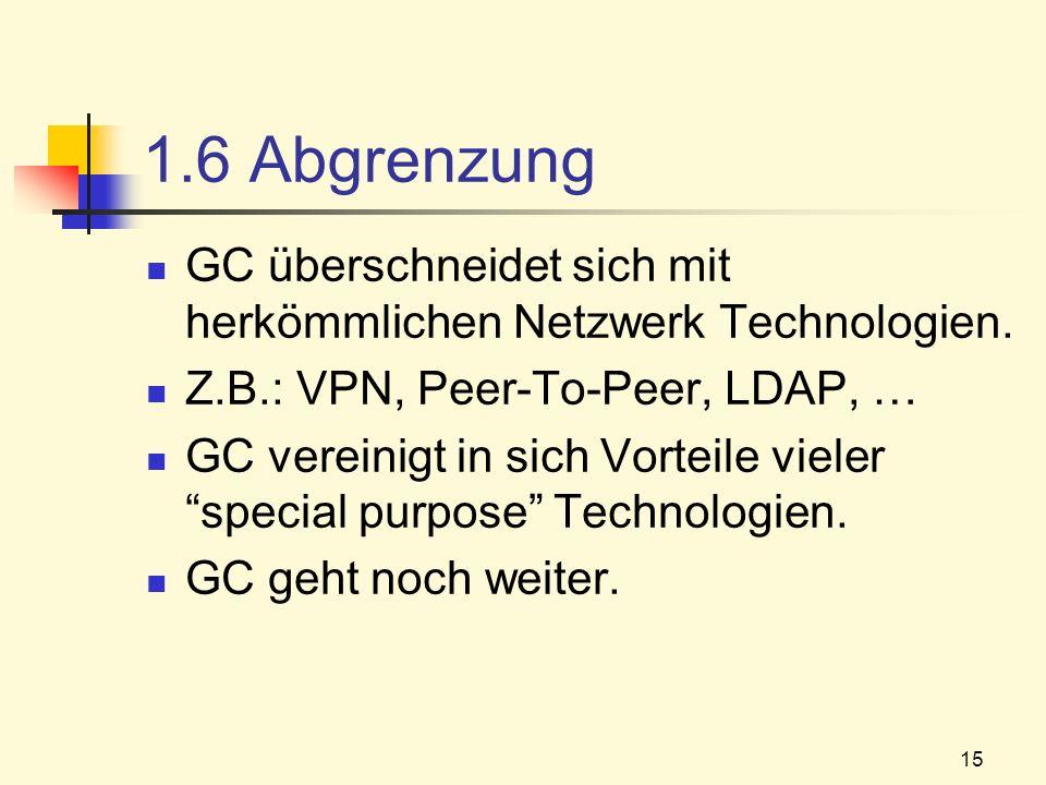 1.6 Abgrenzung GC überschneidet sich mit herkömmlichen Netzwerk Technologien. Z.B.: VPN, Peer-To-Peer, LDAP, …