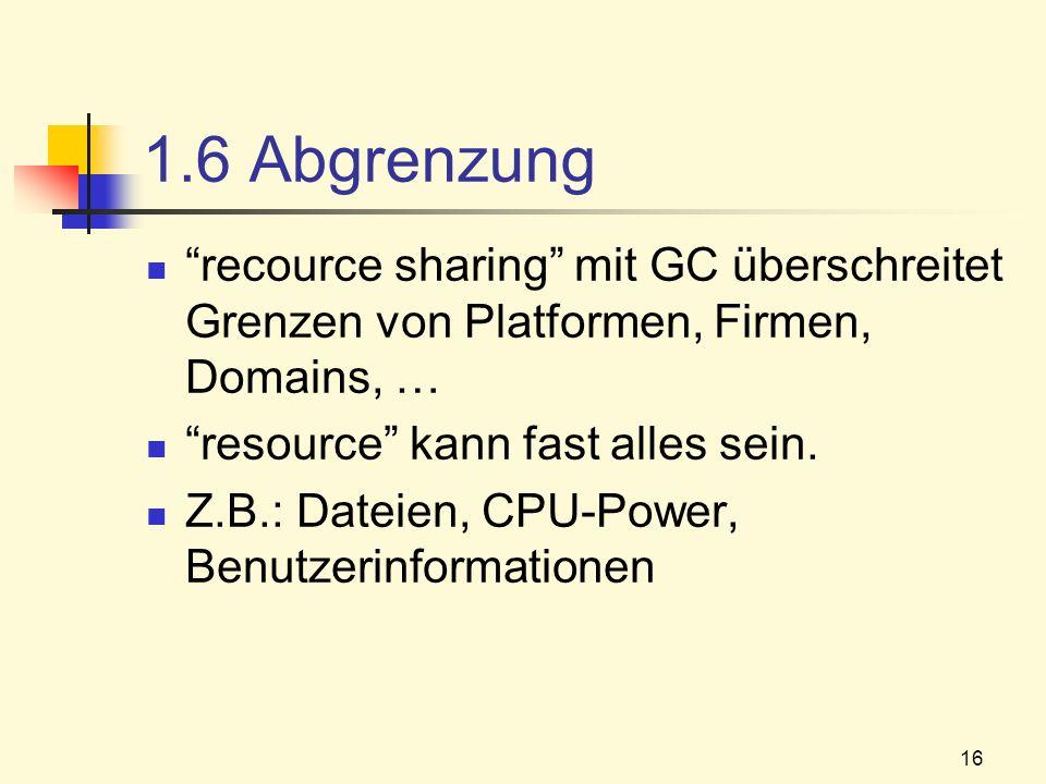 1.6 Abgrenzung recource sharing mit GC überschreitet Grenzen von Platformen, Firmen, Domains, … resource kann fast alles sein.