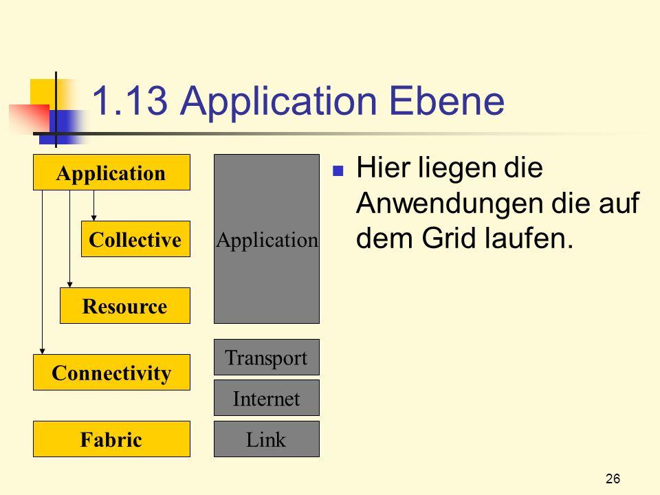 1.13 Application Ebene Hier liegen die Anwendungen die auf dem Grid laufen. Application. Application.