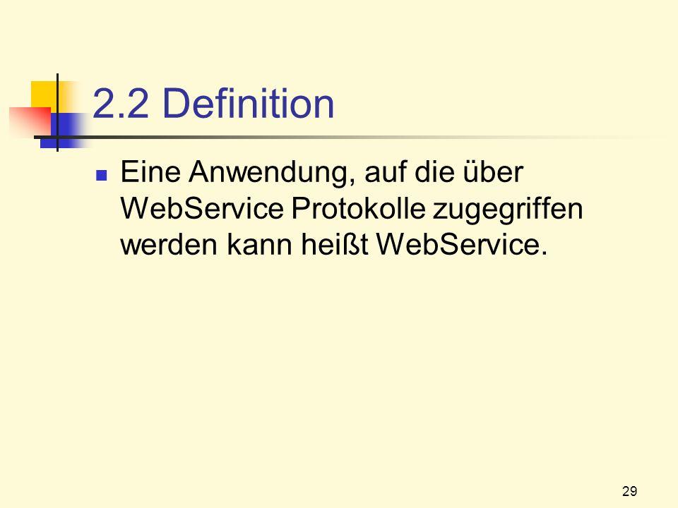 2.2 Definition Eine Anwendung, auf die über WebService Protokolle zugegriffen werden kann heißt WebService.
