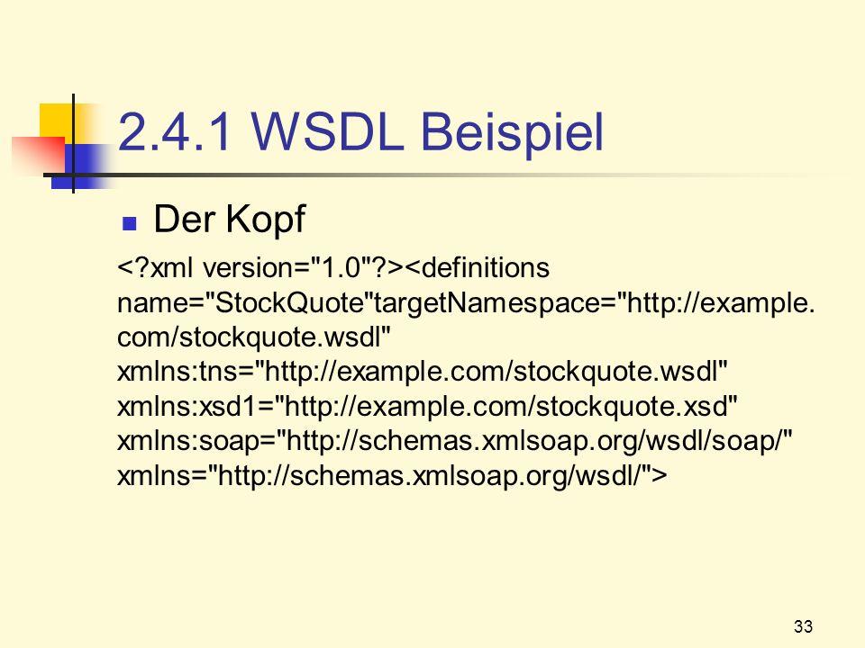 2.4.1 WSDL Beispiel Der Kopf.