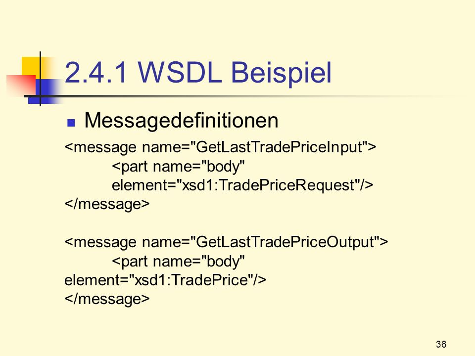 2.4.1 WSDL Beispiel Messagedefinitionen
