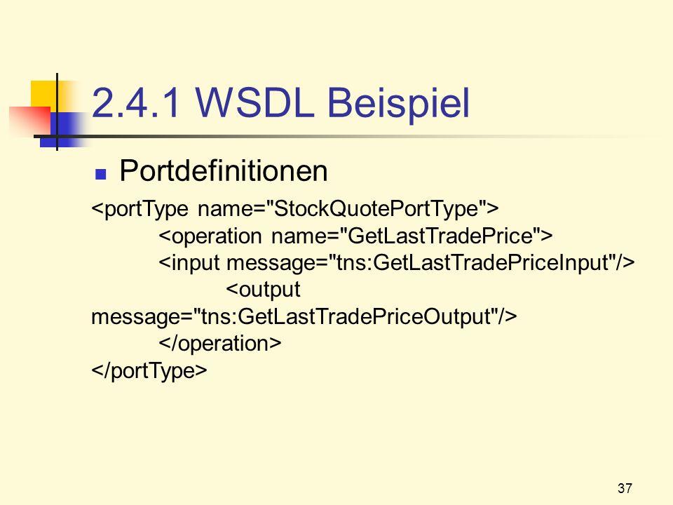 2.4.1 WSDL Beispiel Portdefinitionen