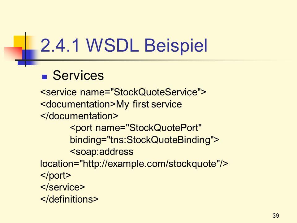 2.4.1 WSDL Beispiel Services