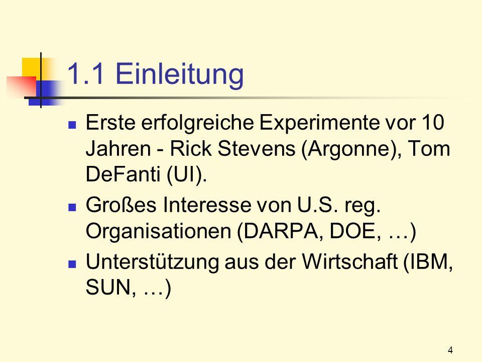 1.1 Einleitung Erste erfolgreiche Experimente vor 10 Jahren - Rick Stevens (Argonne), Tom DeFanti (UI).