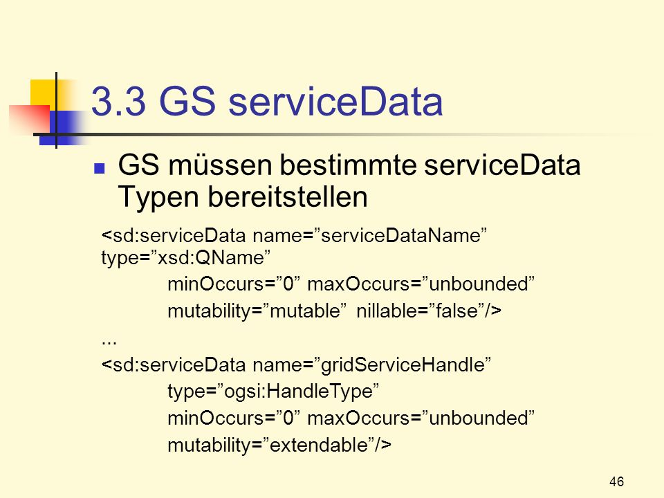 3.3 GS serviceData GS müssen bestimmte serviceData Typen bereitstellen