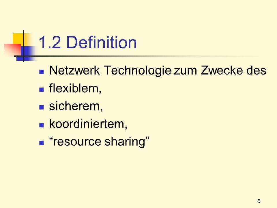 1.2 Definition Netzwerk Technologie zum Zwecke des flexiblem,