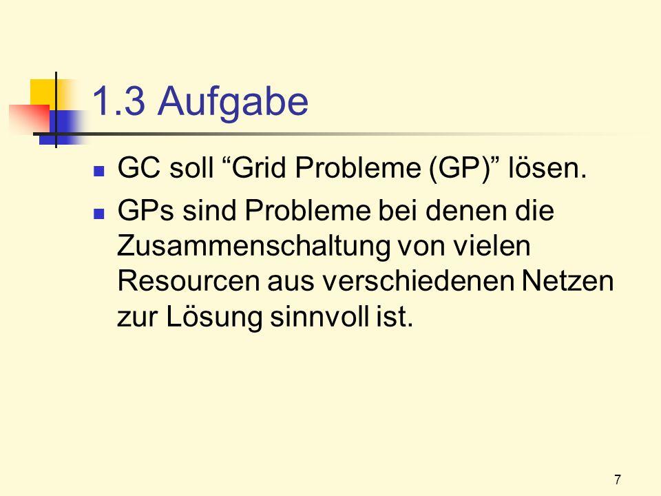 1.3 Aufgabe GC soll Grid Probleme (GP) lösen.