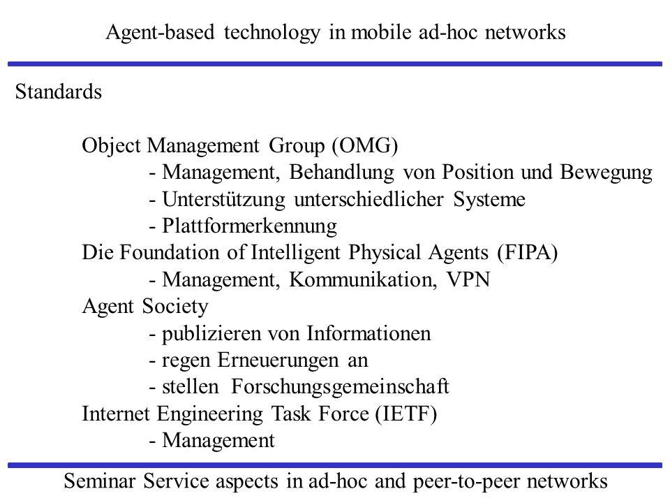 Standards Object Management Group (OMG) - Management, Behandlung von Position und Bewegung. - Unterstützung unterschiedlicher Systeme.