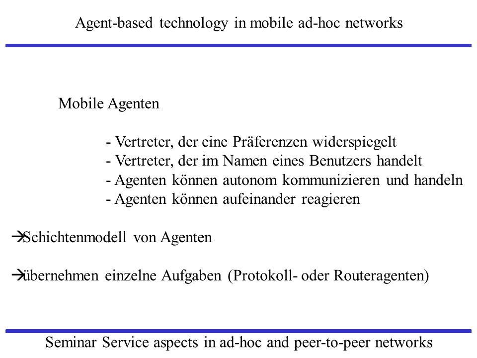 Mobile Agenten - Vertreter, der eine Präferenzen widerspiegelt. - Vertreter, der im Namen eines Benutzers handelt.