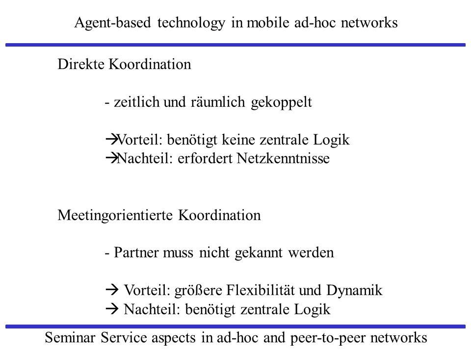 Direkte Koordination - zeitlich und räumlich gekoppelt. Vorteil: benötigt keine zentrale Logik. Nachteil: erfordert Netzkenntnisse.