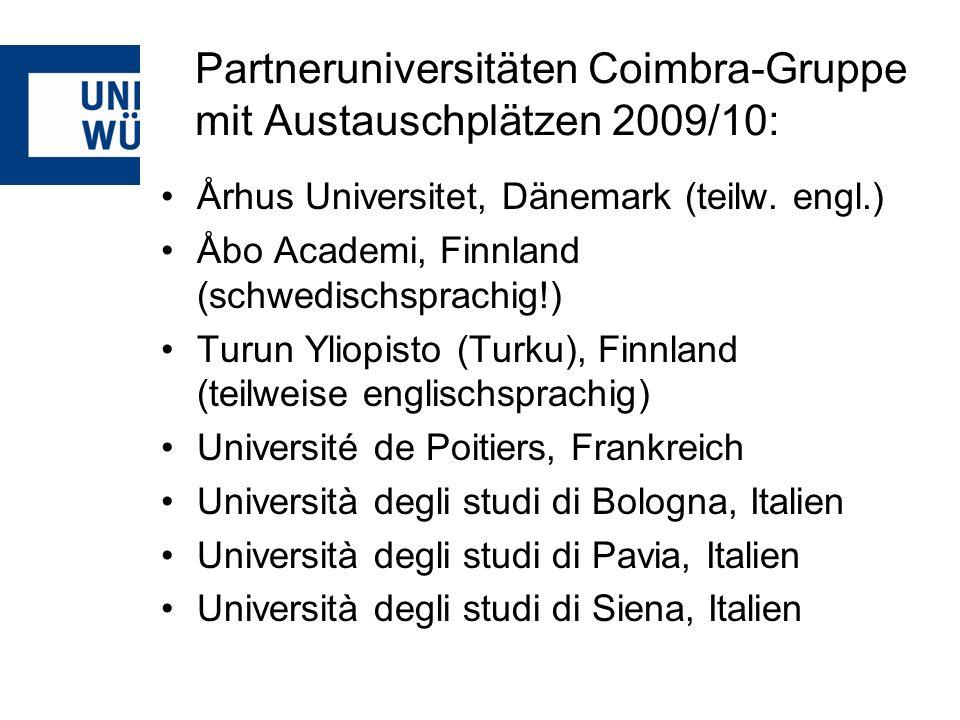 Partneruniversitäten Coimbra-Gruppe mit Austauschplätzen 2009/10: