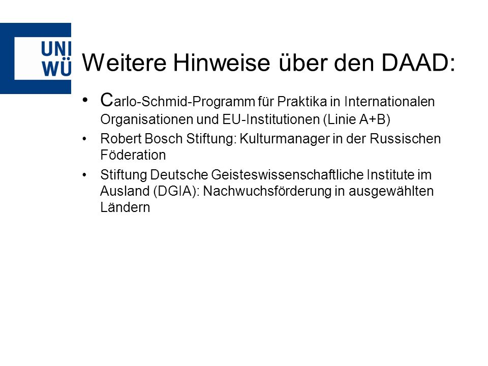 Weitere Hinweise über den DAAD: