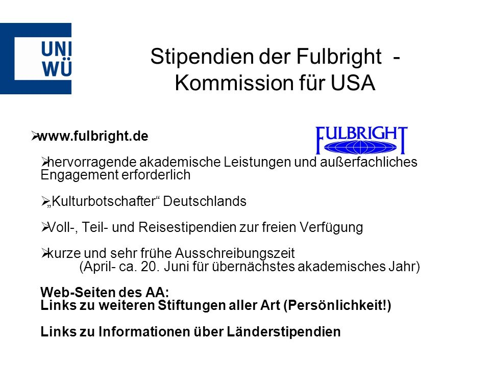 Stipendien der Fulbright - Kommission für USA