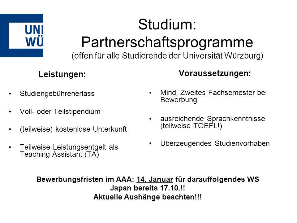 Studium: Partnerschaftsprogramme (offen für alle Studierende der Universität Würzburg)