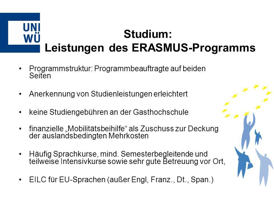 Studium: Leistungen des ERASMUS-Programms