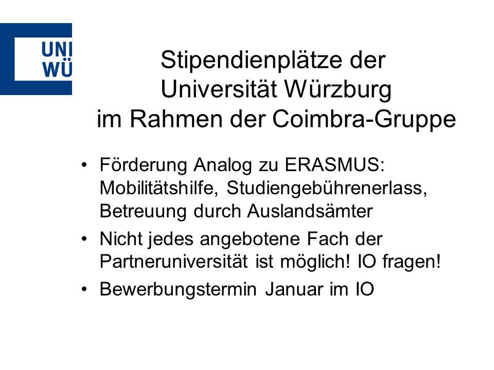 Stipendienplätze der Universität Würzburg im Rahmen der Coimbra-Gruppe