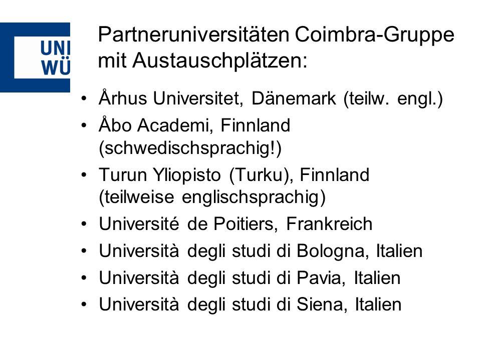 Partneruniversitäten Coimbra-Gruppe mit Austauschplätzen: