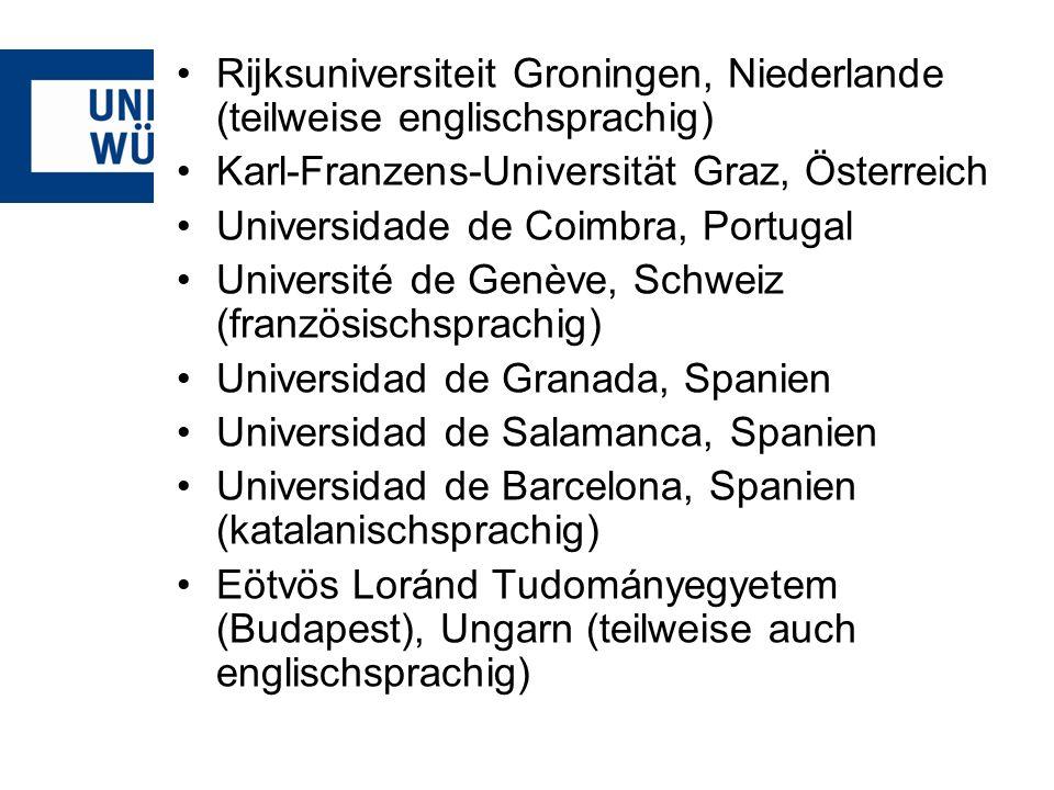 Rijksuniversiteit Groningen, Niederlande (teilweise englischsprachig)