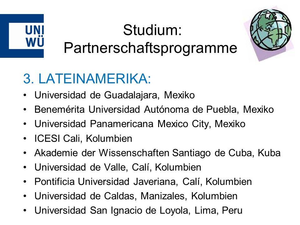 Studium: Partnerschaftsprogramme