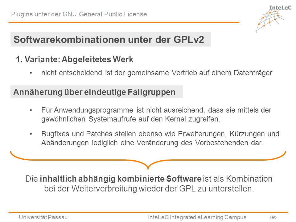 Softwarekombinationen unter der GPLv2