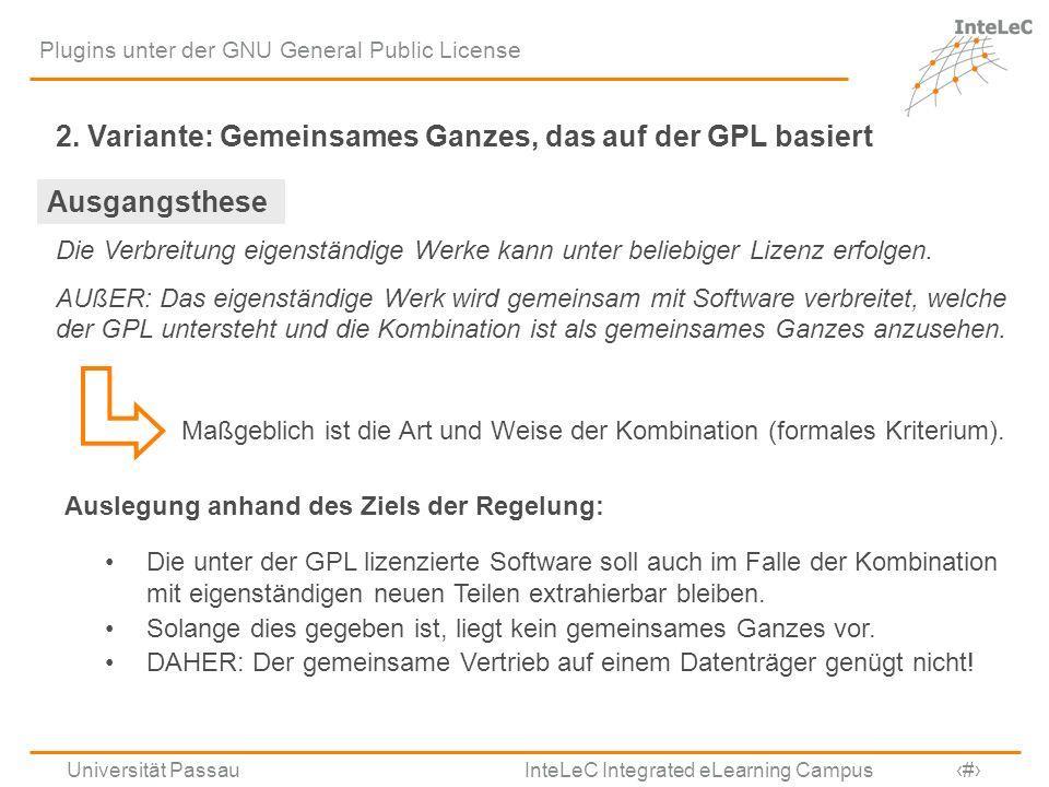 2. Variante: Gemeinsames Ganzes, das auf der GPL basiert