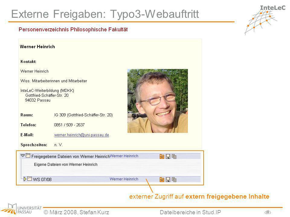 Externe Freigaben: Typo3-Webauftritt