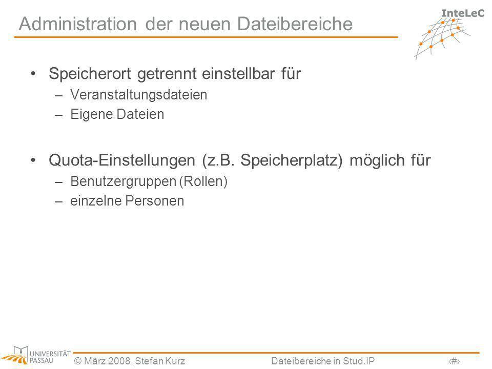 Administration der neuen Dateibereiche