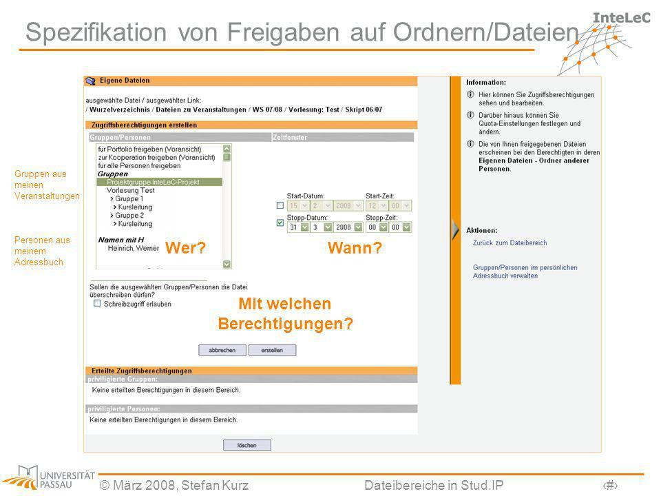 Spezifikation von Freigaben auf Ordnern/Dateien