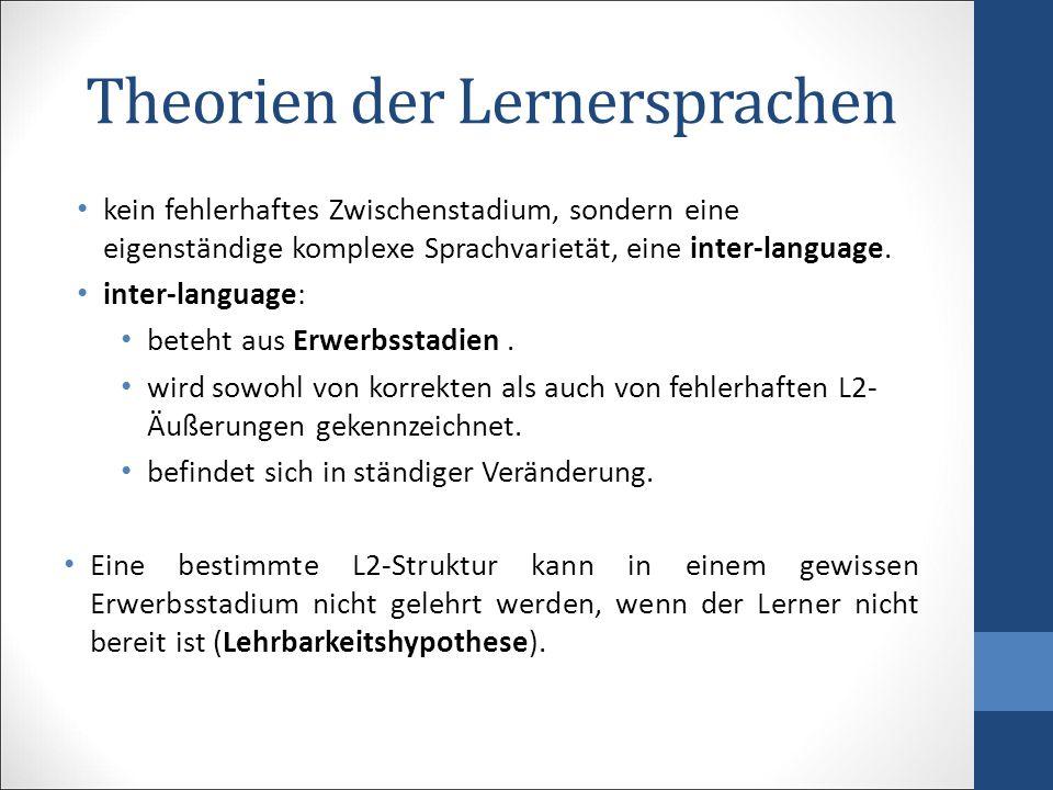 Theorien der Lernersprachen