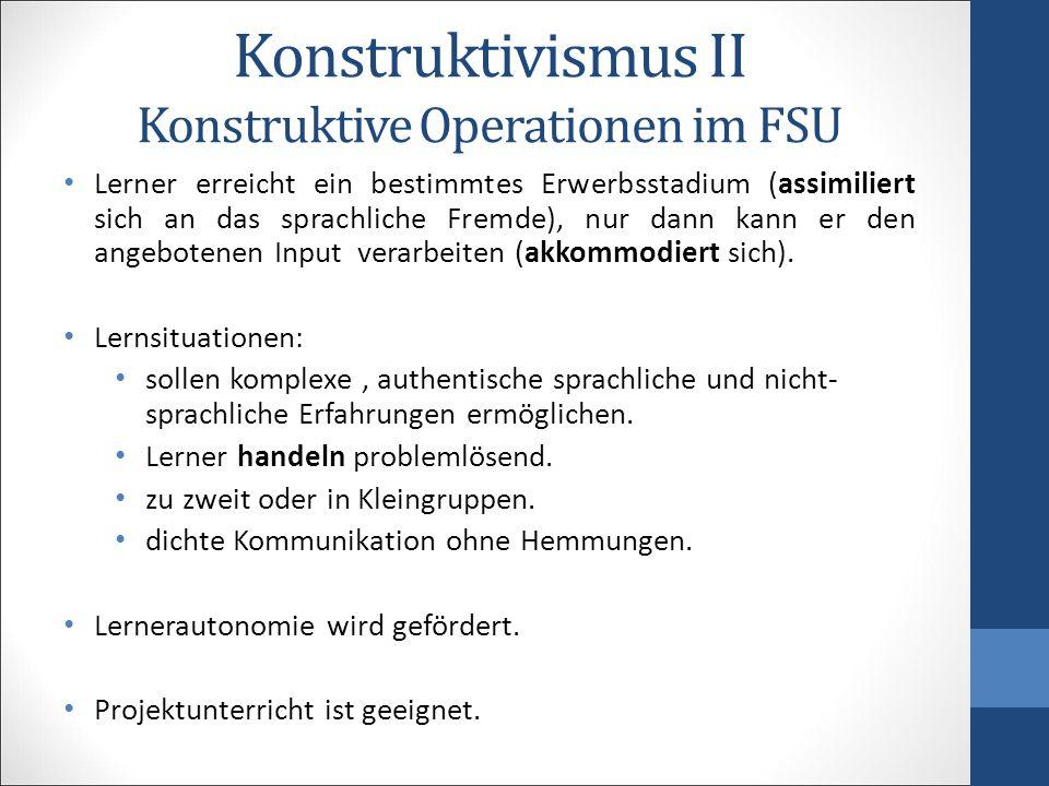 Konstruktivismus II Konstruktive Operationen im FSU