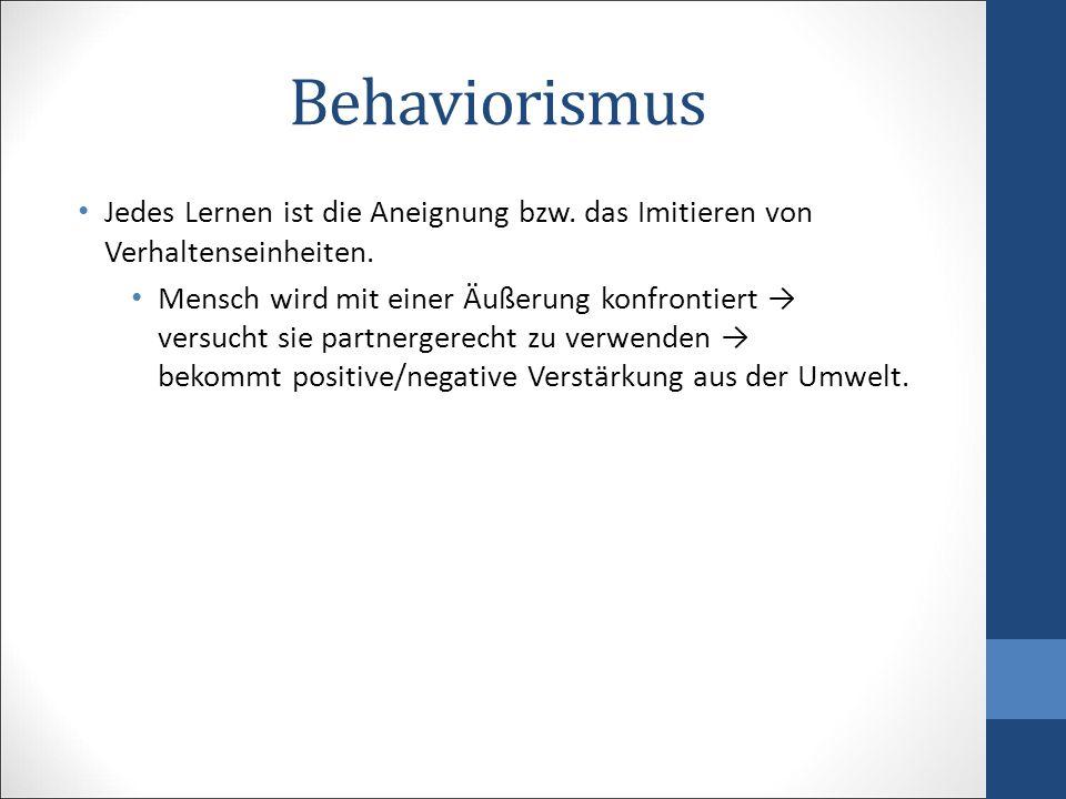 Behaviorismus Jedes Lernen ist die Aneignung bzw. das Imitieren von Verhaltenseinheiten.