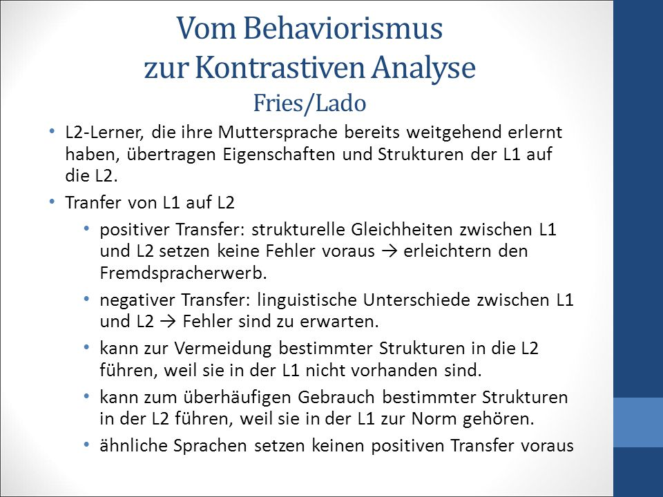 Vom Behaviorismus zur Kontrastiven Analyse Fries/Lado