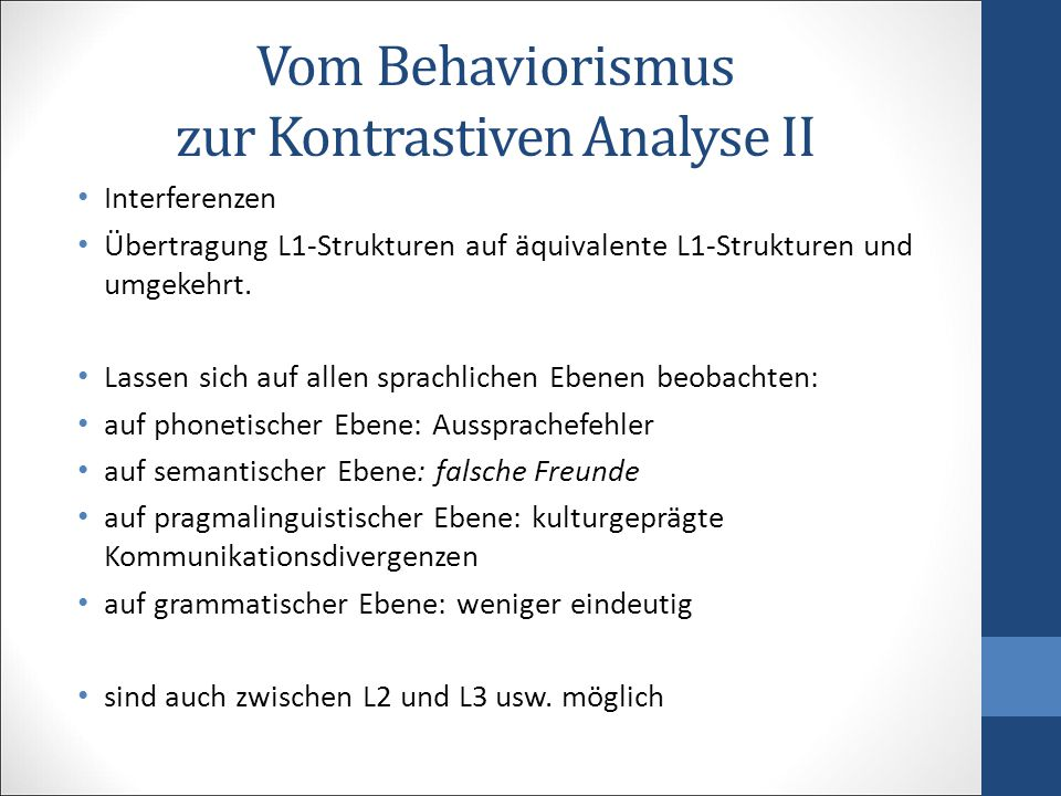 Vom Behaviorismus zur Kontrastiven Analyse II
