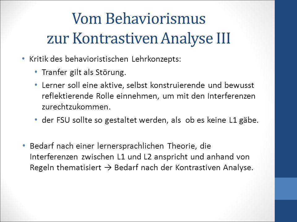Vom Behaviorismus zur Kontrastiven Analyse III