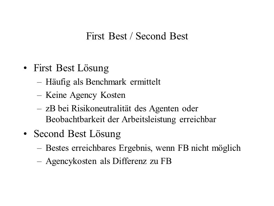 First Best / Second Best
