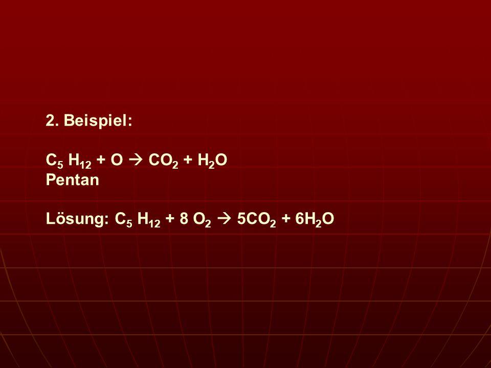 2. Beispiel: C5 H12 + O  CO2 + H2O Pentan Lösung: C5 H12 + 8 O2  5CO2 + 6H2O