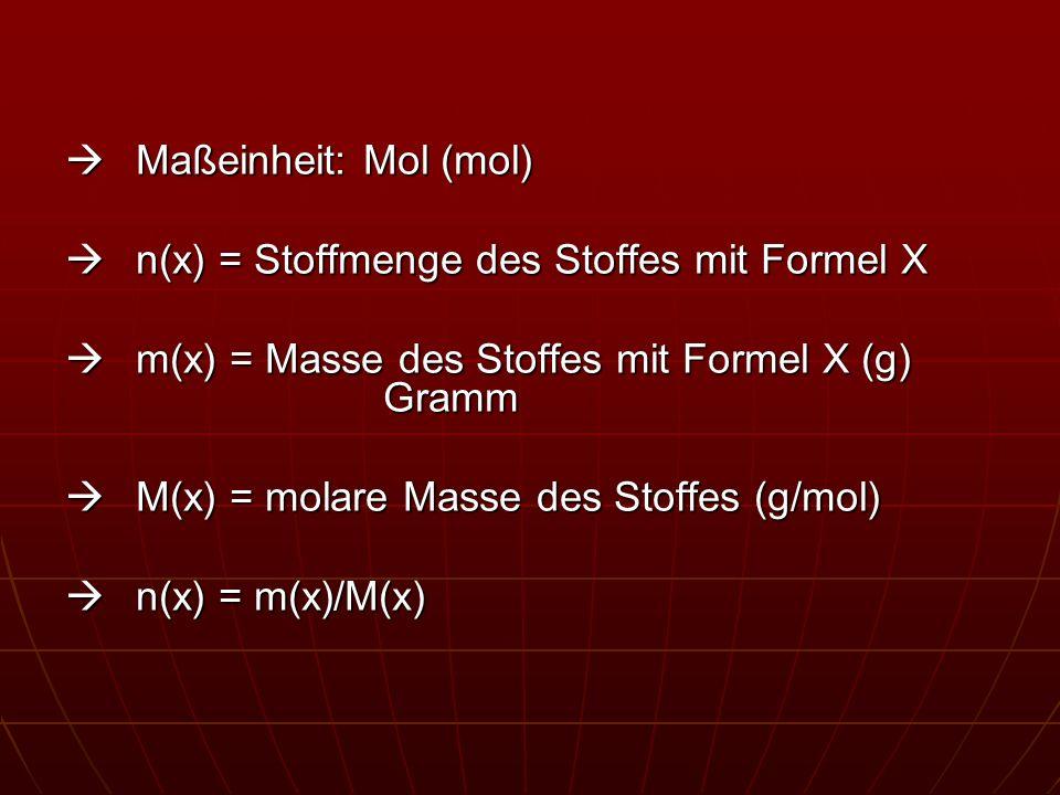  Maßeinheit: Mol (mol)