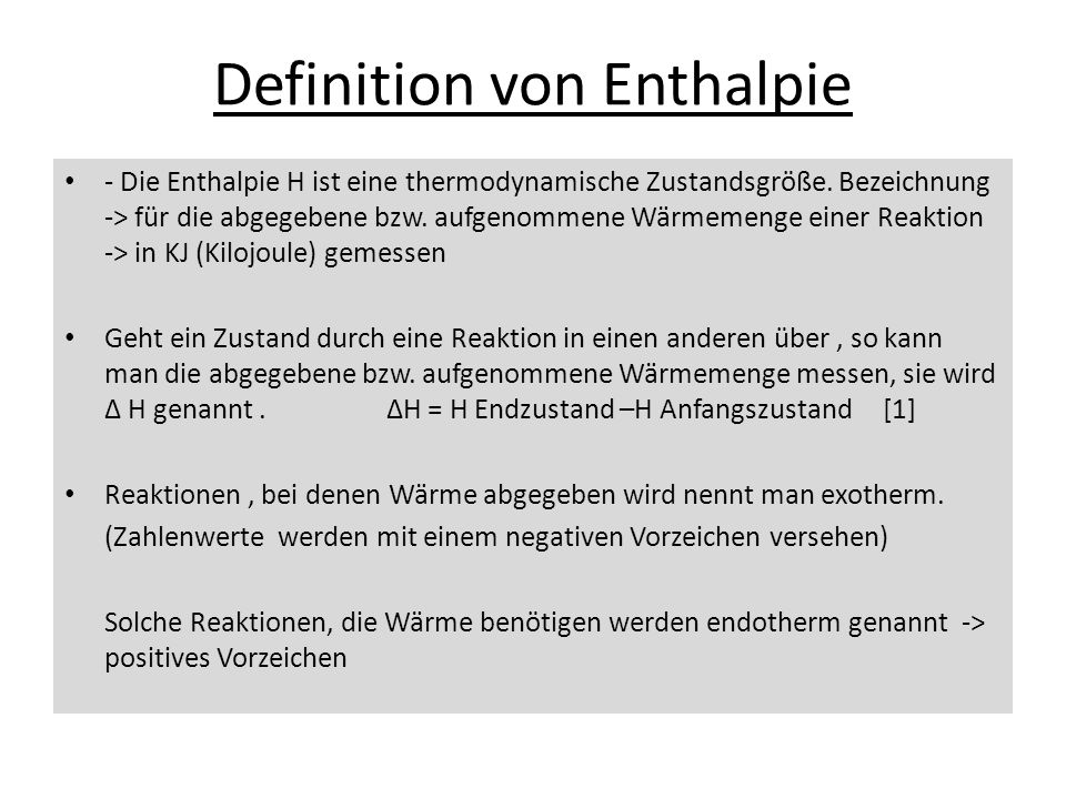 Definition von Enthalpie