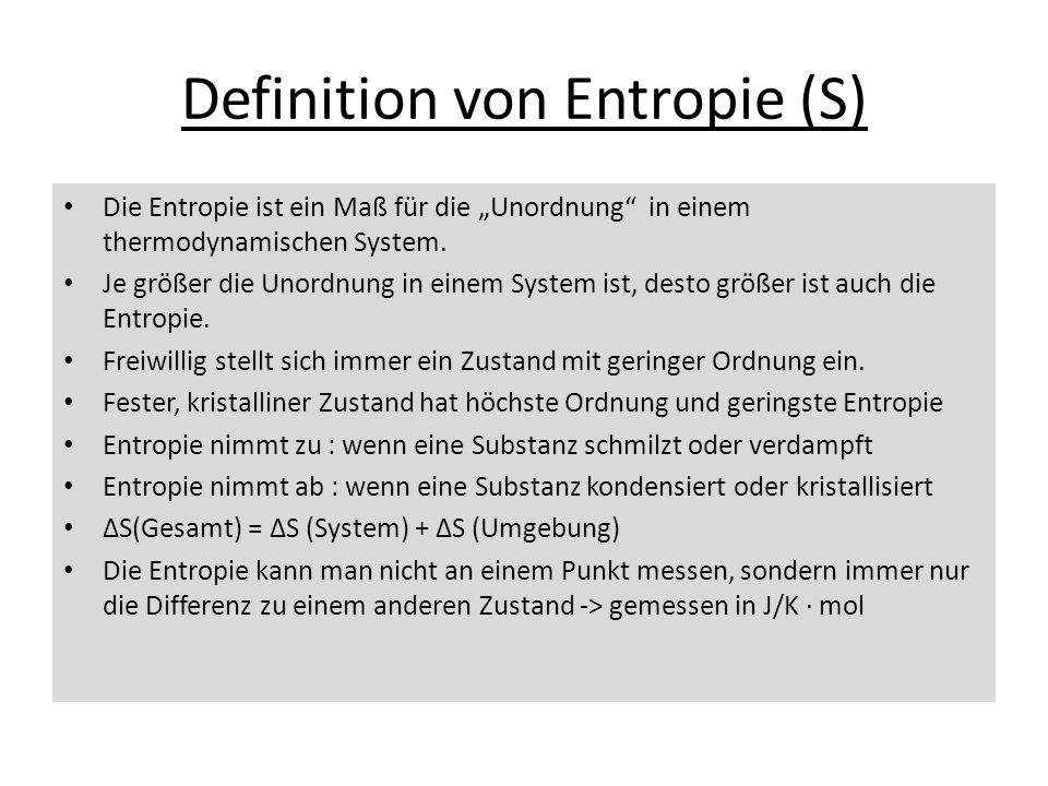 Definition von Entropie (S)