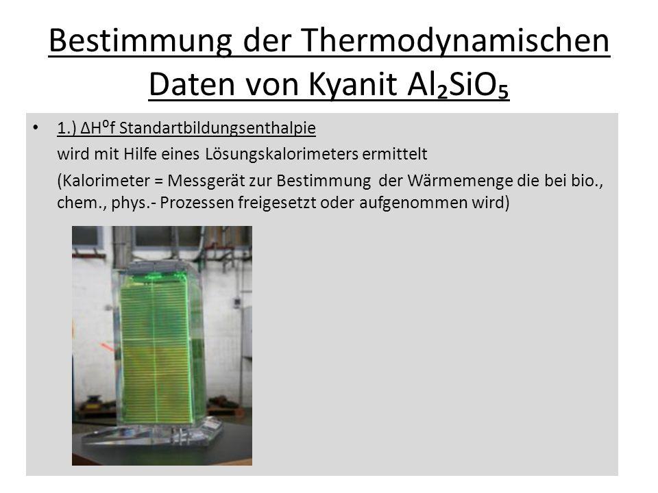Bestimmung der Thermodynamischen Daten von Kyanit Al₂SiO₅