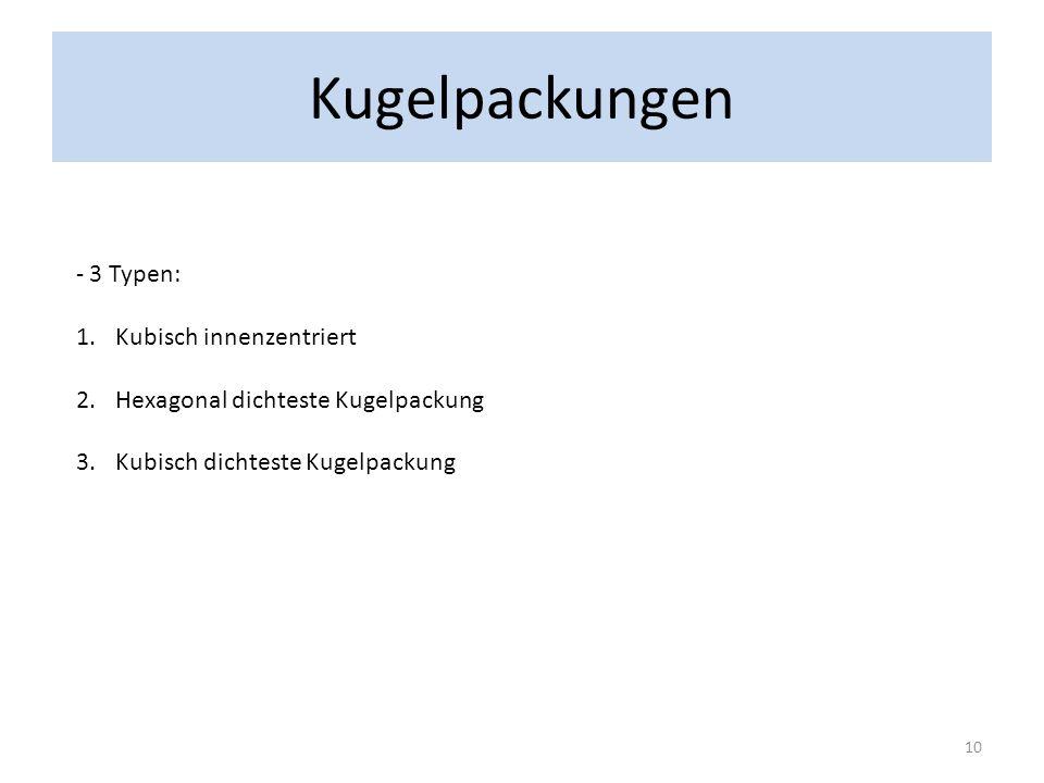 Kugelpackungen 3 Typen: Kubisch innenzentriert