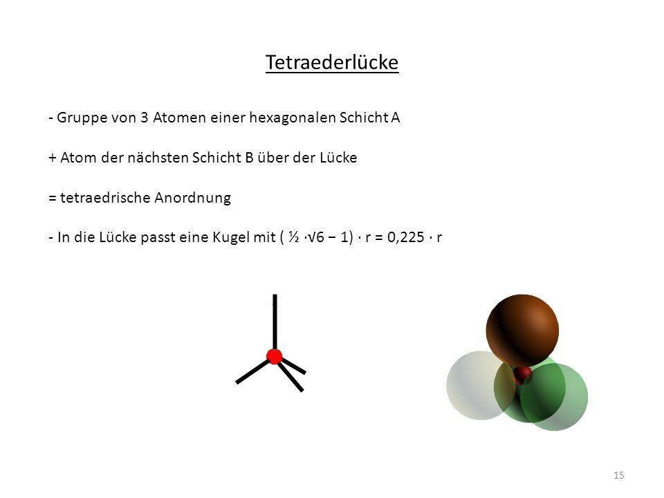 Tetraederlücke Gruppe von 3 Atomen einer hexagonalen Schicht A