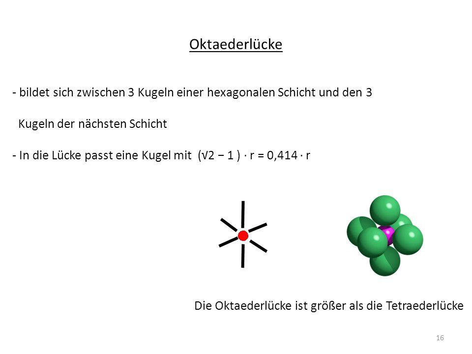 Oktaederlücke - bildet sich zwischen 3 Kugeln einer hexagonalen Schicht und den 3. Kugeln der nächsten Schicht.