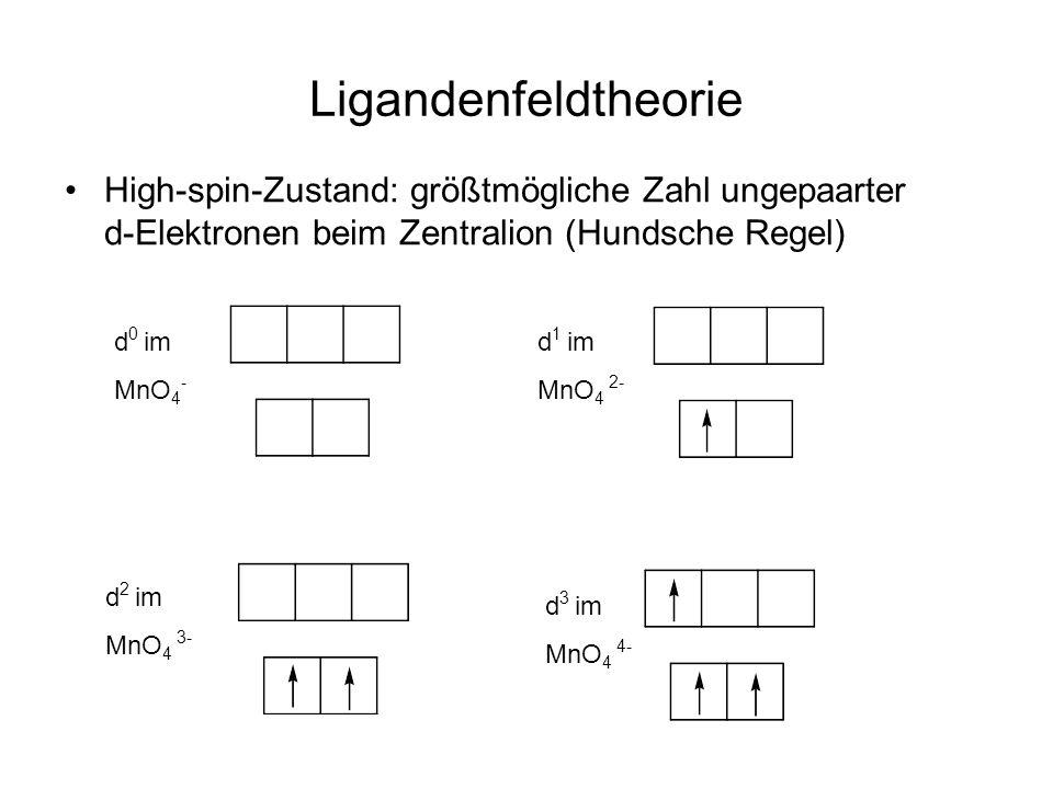 Ligandenfeldtheorie High-spin-Zustand: größtmögliche Zahl ungepaarter d-Elektronen beim Zentralion (Hundsche Regel)